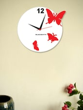 Blacksmith Red Butterfly Wall Clock