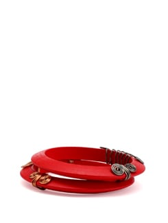 Red Wooden Bangles with Metallic Spirals - Eesha Zaveri; Jewellery By Design