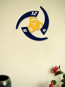 Stylish Blue And Yellow Wall Clock - BLACKSMITH