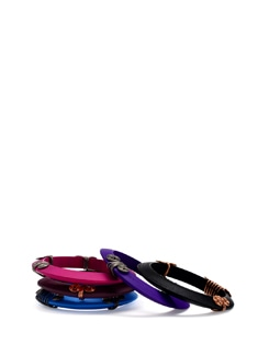 Multi Coloured Wooden Bangles (Set Of 5) - Eesha Zaveri; Jewellery By Design