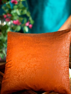 Embossed Poly Silk Cushion Cover - Nakalchee Bandar