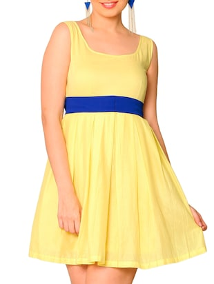 Yellow cotton Mini Flared Dress