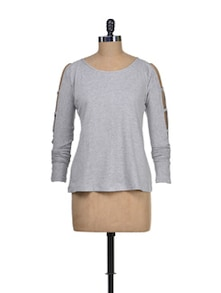 Grey Cut-Out Sleeves Top - Miss Chase