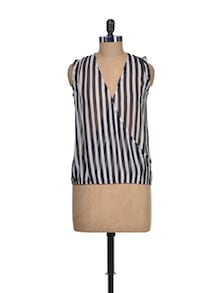 Black & White Striped Sheer Top - Miss Chase