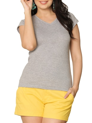 Grey Melange V-Neck Tee