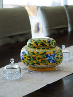 Yellow Round Jar With A Flat Lid - NEERJA