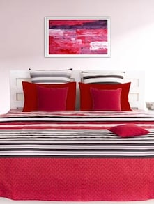 Red & Black Striped Bedsheet With Pillow Covers - HOUSE THIS