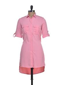 Peach Shirt Style Tunice - Femella