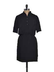 Shirt Style Little Black Dress - Femella