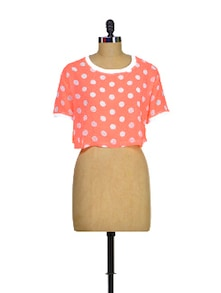 Polka Dotted Neon Crop Top - STREET 9