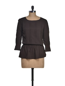 Brown Peplum Top - Tapyti