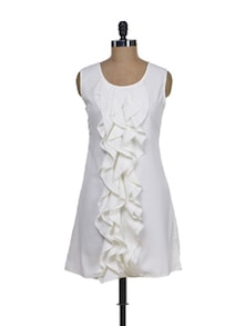 White Ruffle Dress - Tapyti