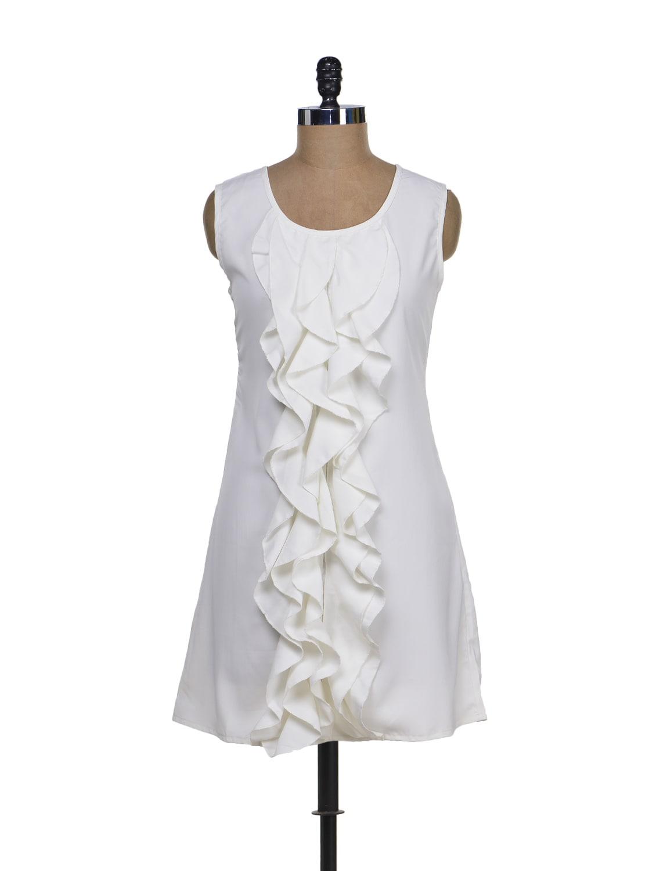 White Ruffle Dress - Tapyti