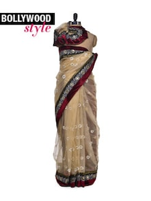 Elegant Beige & Maroon Saree - Get Style At Home