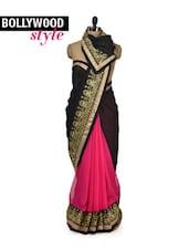Elegant Black & Pink Designer Saree