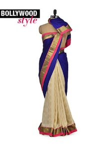 Designer Blue & Beige Saree - Get Style At Home