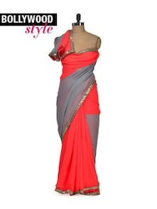 Elegant Peach & Grey Colorblocked Saree - Get Style At Home