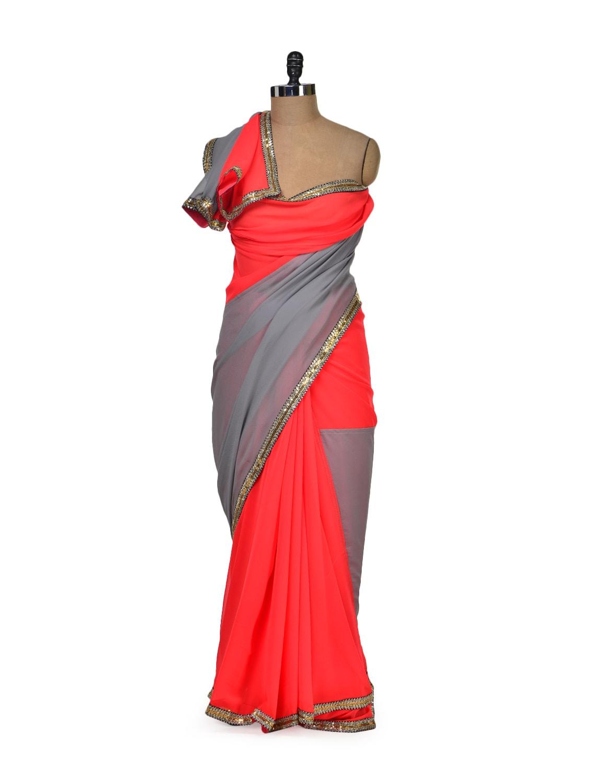 Elegant Peach & Grey Colorblocked Saree - Get Style At Home