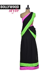 Elegant Black Saree With Neon Border - Get Style At Home