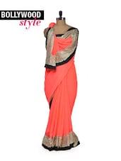 Pretty Peach Designer Saree