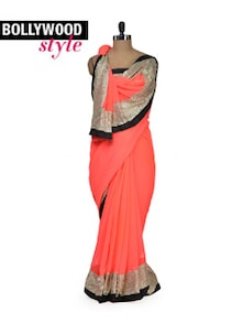 Pretty Peach Designer Saree - Get Style At Home
