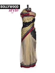 Designer Beige & Black Saree - Get Style At Home
