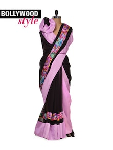 Elegant Black & Purple Saree - Get Style At Home