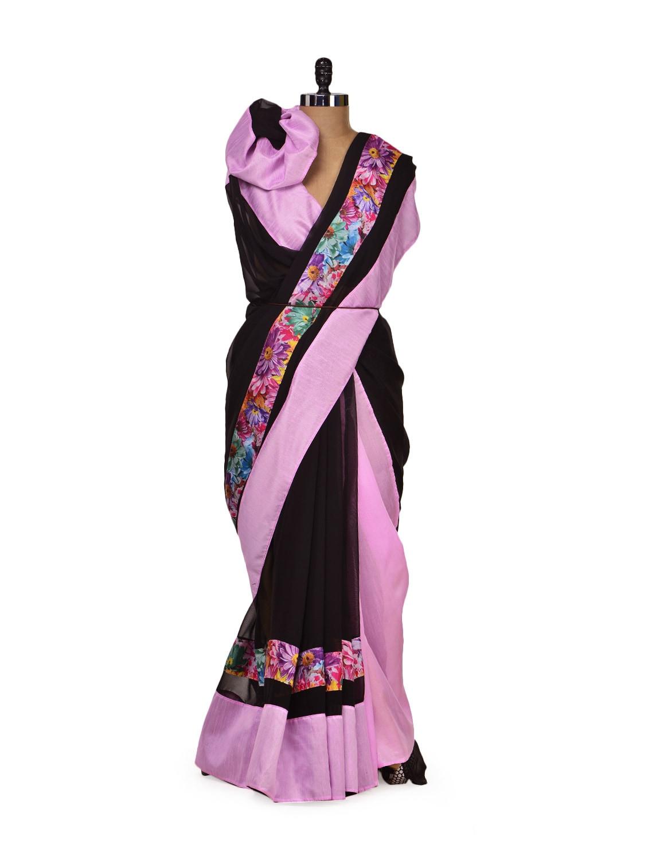 Elegant Black & Purple Saree - Get Style At Home