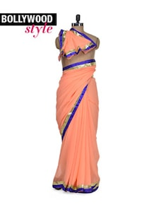 Elegant Peach Designer Saree - Get Style At Home