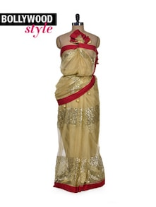 Designer Gold Party Saree - Get Style At Home