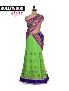 Gorgeous Green Lehenga Saree - Get Style At Home