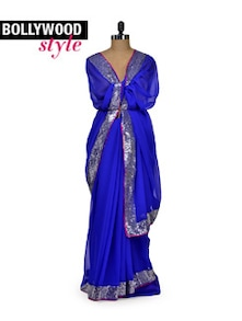 Chic Blue & Silver Party Saree - Get Style At Home