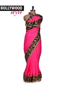Chic Pink & Black Designer Saree - Get Style At Home