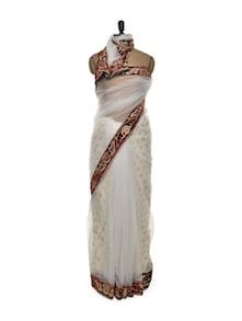 Pristine White Net Saree - Istyledeals