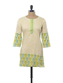 Fiesty Yellow And Green Kurti - KILOL