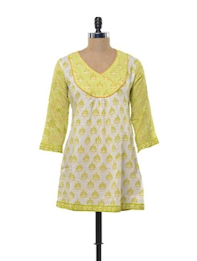 Summery Green And Yellow Printed Kurti - KILOL