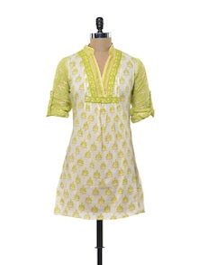 Vibrant Yellow And Green Kurti - KILOL