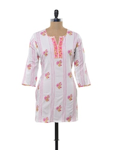 Pink And Green Floral Printed Kurti - KILOL