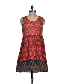 Red & Black Printed Sleeveless Dress - Desiweaves