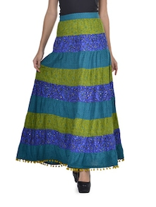 Peacock Hued Long Skirt - Desiweaves