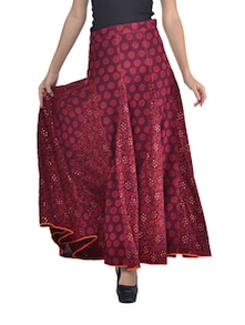 Rich Maroon Long Skirt - Desiweaves