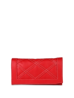Red Faux Leather Clutch - ALESSIA