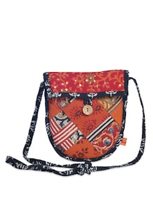 Red Patchwork Sling Bag - Desiweaves