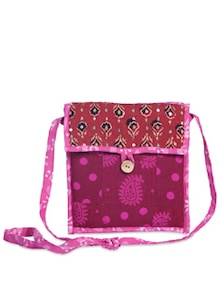Pink & Rust Polka Sling Bag - Desiweaves
