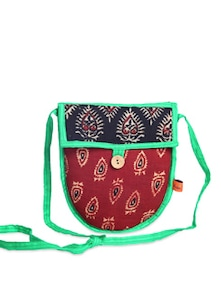 Ethnic Maroon & Black Sling Bag - Desiweaves