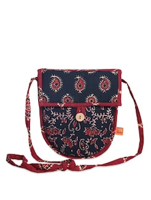 Ethnic Black & Maroon Sling Bag - Desiweaves