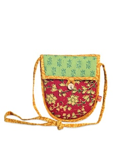 Ethnic Red & Green Sling Bag - Desiweaves