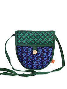Ethnic Blue & Green Sling Bag - Desiweaves