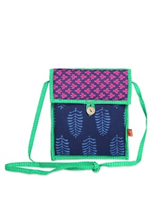 Ethnic Blue & Pink Sling Bag - Desiweaves