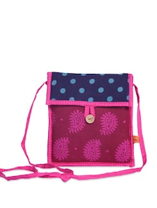 Elegant Blue & Pink Sling Bag - Desiweaves